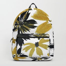 Modern hand paint watercolor faux glitter flowers Backpack