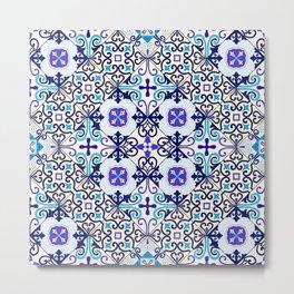 Turquoise Moroccan tile seamless pattern Metal Print
