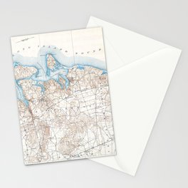 Vintage Huntington Northport Long Island New York Map Stationery Cards