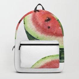 Watermelon cut in half. Watercolor hand-drawn. Backpack