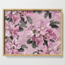 Bouquets of wild roses on pink grange background. Serving Tray
