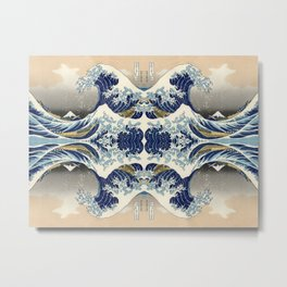 The Great Wave off Kanagawa Symmetry Metal Print