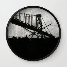 Paper City, Newspaper Bridge Collage Wall Clock