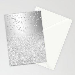 Modern silver glitter ombre metallic sparkles confetti Stationery Cards