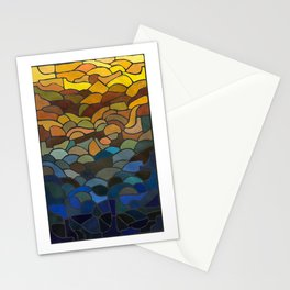 Stained Glass Painting, Blue to Yellow Stationery Cards
