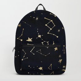 Modern gold constellation hearts stars space on navy blue watercolor Backpack