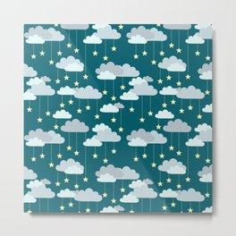 Clouds & Stars Night Sky Pattern Metal Print