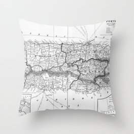 Vintage Map of Puerto Rico (1901) BW Throw Pillow