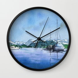 Lucerne Switzerland - Boats on the Lake Wall Clock