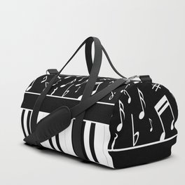 Stylish black and white piano keys and musical notes Sporttaschen