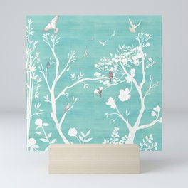 Chinoiserie Panels 1-2 White Scene on Teal Raw Silk - Casart Scenoiserie Collection Mini Art Print