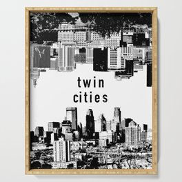 Twin Cities Minneapolis and Saint Paul Minnesota Serving Tray