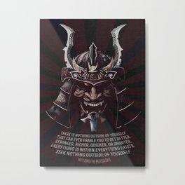 Samurai Warrior, Quote by Miyamoto Musashi, iaido, kendo, kenjutsu, aikido Metal Print
