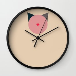 blooming cat Wall Clock