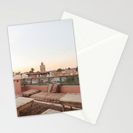 Pastel Sunset Colors Of Marrakech Photo | Coral Rooftop Design Art Print | Morocco Travel Photography Stationery Cards