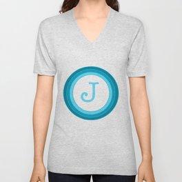 Blue letter J Unisex V-Neck