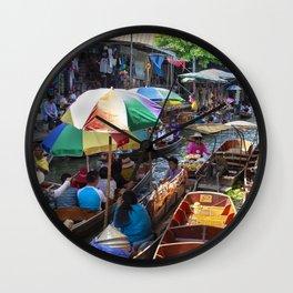 Bangkok floating market Wall Clock