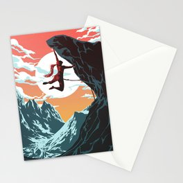 Rock Climbing Girl Vector Art Stationery Cards