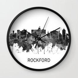 Rockford Illinois Skyline BW Wall Clock