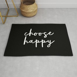 Choose Happy black and white contemporary minimalism typography design home wall decor bedroom Rug