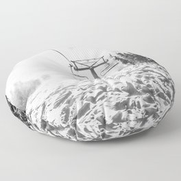Powder on the Hill // Black and White Skilift Shot on a Deep Snowday Floor Pillow