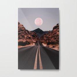 Road Red Moon Metal Print