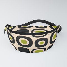 Mid Century Modern Garden Path Pattern 336 Black Beige and Olive Fanny Pack