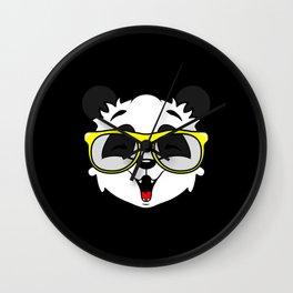 Yellow Glasses wearing laughing Cool Panda Wall Clock