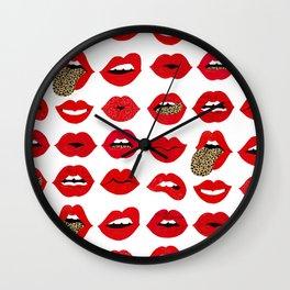 Leopard Lips of Love Wall Clock
