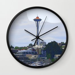 Gold Topped Space Needle Wall Clock