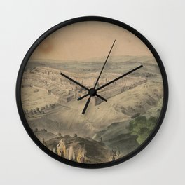 Vintage Pictorial Map of Jerusalem Israel (1846) Wall Clock