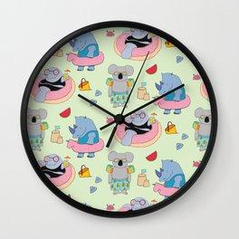 Beach animals - green Wall Clock