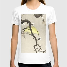 Ohara Koson, Yellow Bird Sitting On A Blossomed Tree - Japanese Vintage Woodblock Print T-shirt