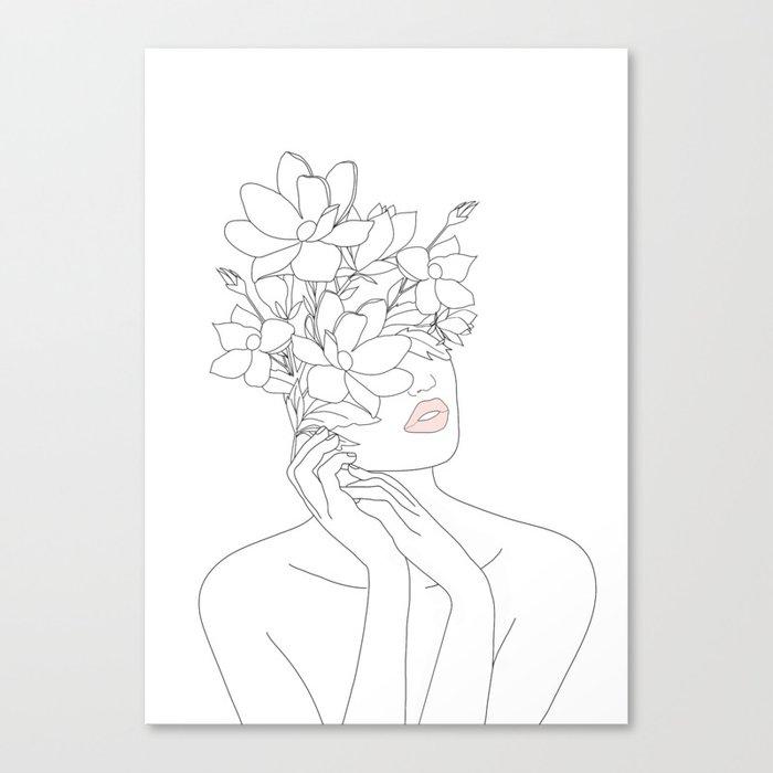 Minimal Line Art Woman with Magnolia Leinwanddruck