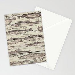 father's day fisherman gifts whitewashed wood lakehouse freshwater fish Stationery Cards