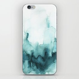 Soft teal abstract watercolor iPhone Skin