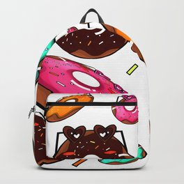 Donuts world pattern with heart glasses Backpack