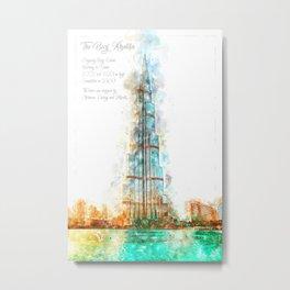 Burj Khalifa, Dubai, Aquarell Metal Print