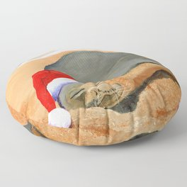Mele Kalikimaka Monk Seal Floor Pillow