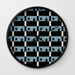Row House Pattern Blue Wall Clock