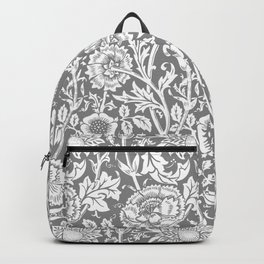 """William Morris Floral Pattern   """"Pink and Rose"""" in Grey and White   Vintage Flower Patterns   Backpack"""