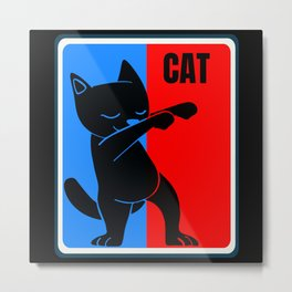 Cat Red and Blue Sports Logo Metal Print