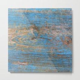 Blue Wood Grain Metal Print