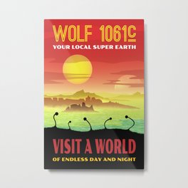 Exoplanet Wolf 1061c Retro Space Travel Illustration Metal Print
