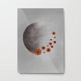 Dark Moon and Orange Flowers Metal Print