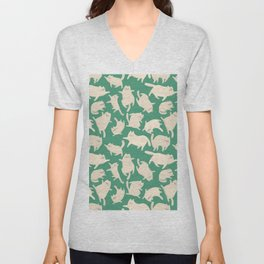 White Cats Pattern Unisex V-Neck