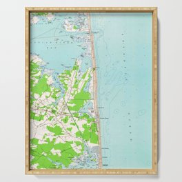 Vintage Map of Bethany Beach Delaware (1954) Serving Tray