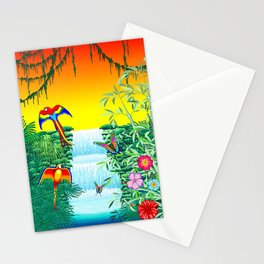 Waterfall Macaws and Butterflies on Exotic Landscape in the Jungle Naif Style Stationery Cards