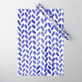Cute watercolor knitting pattern - blue Wrapping Paper