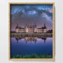 The castle of Chambord at night, Castle of the Loire, France Serving Tray